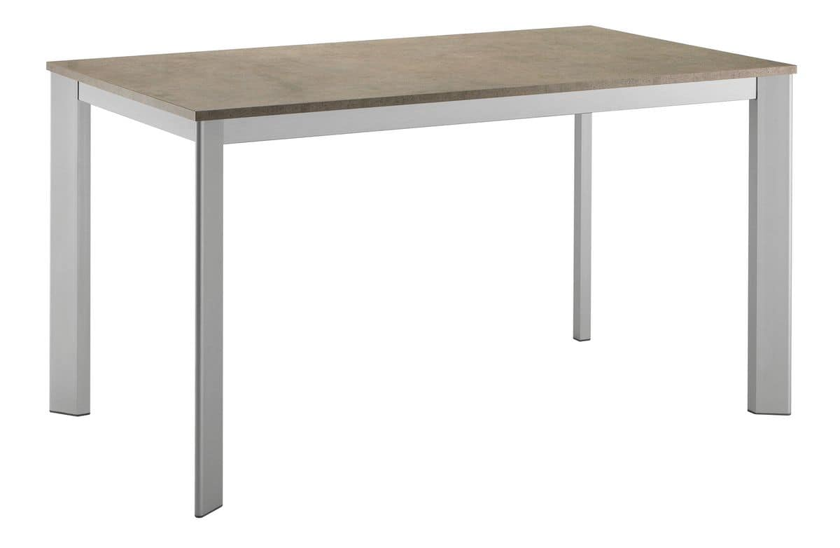 TA17, Extendable rectangular table with aluminum base and laminate top