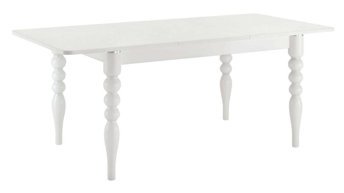 TA29, Extendable rectangular table, laminate top, beech legs with aluminum inserts