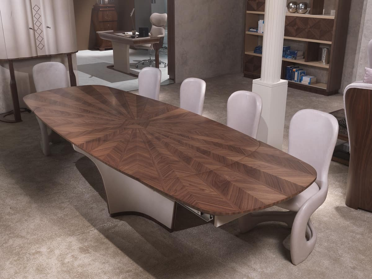 TA61K Desyo table, Extendable table, in inlaid wood, for living rooms