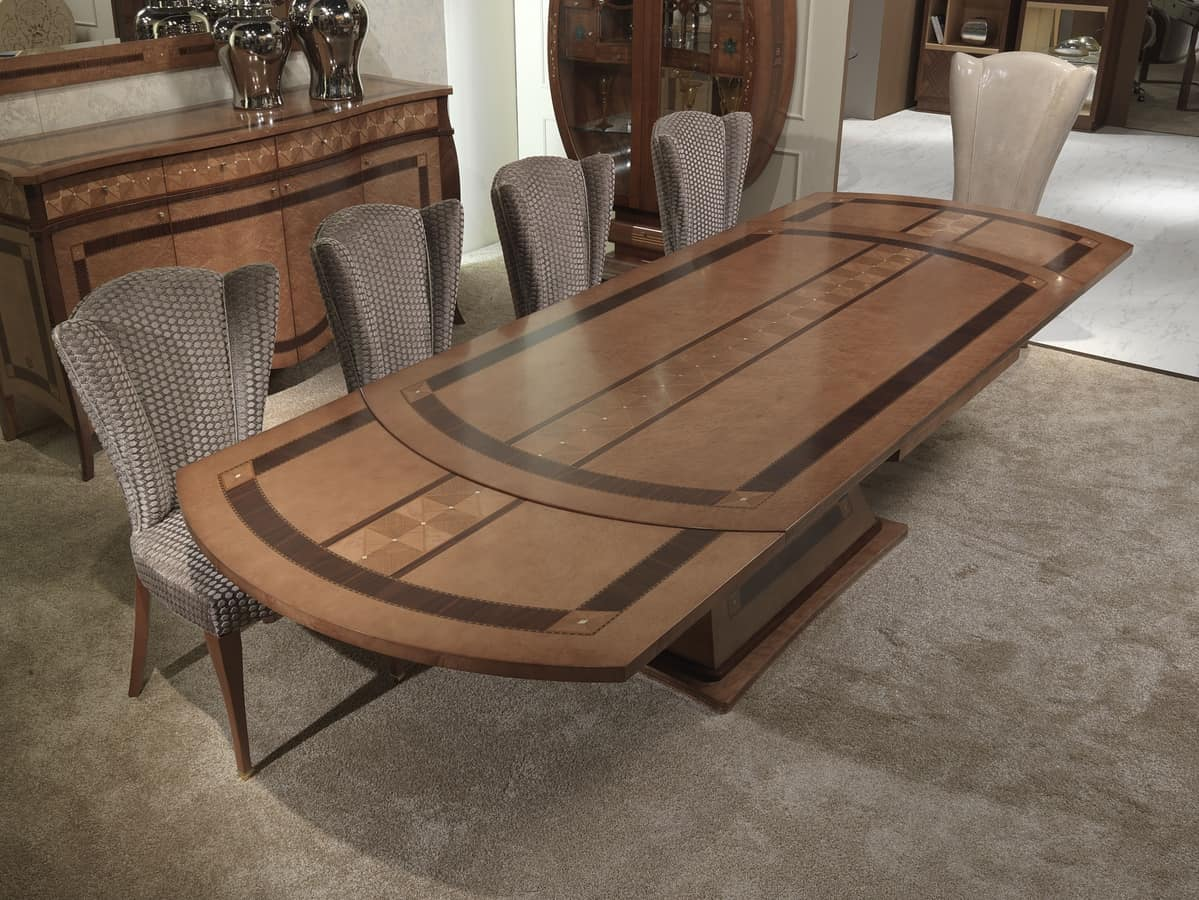 TA62k Charme table, Extendable inlaid wooden table, for restaurants