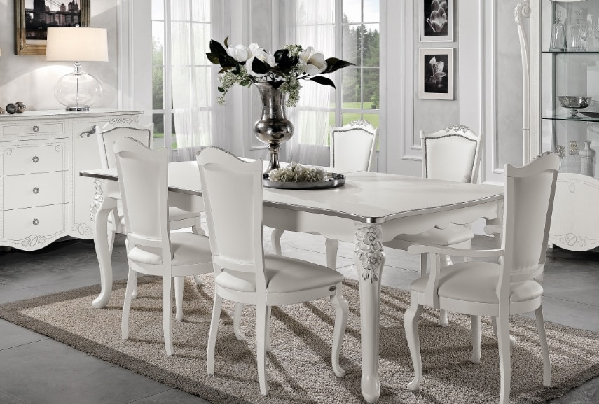 Viola rectangular table, Extendable table, neoclassical style