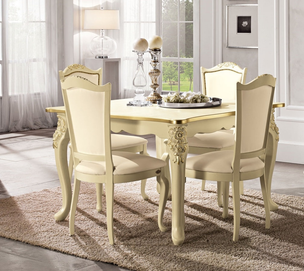 Viola squared table, Neoclassical table, with carved legs