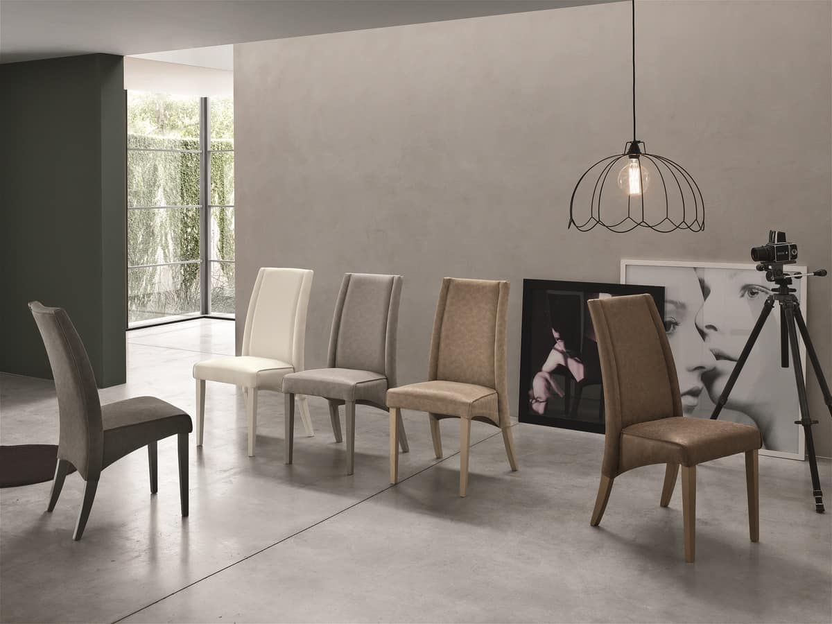 ATENE SE510, Wooden chair with high back, upholstered in soft touch