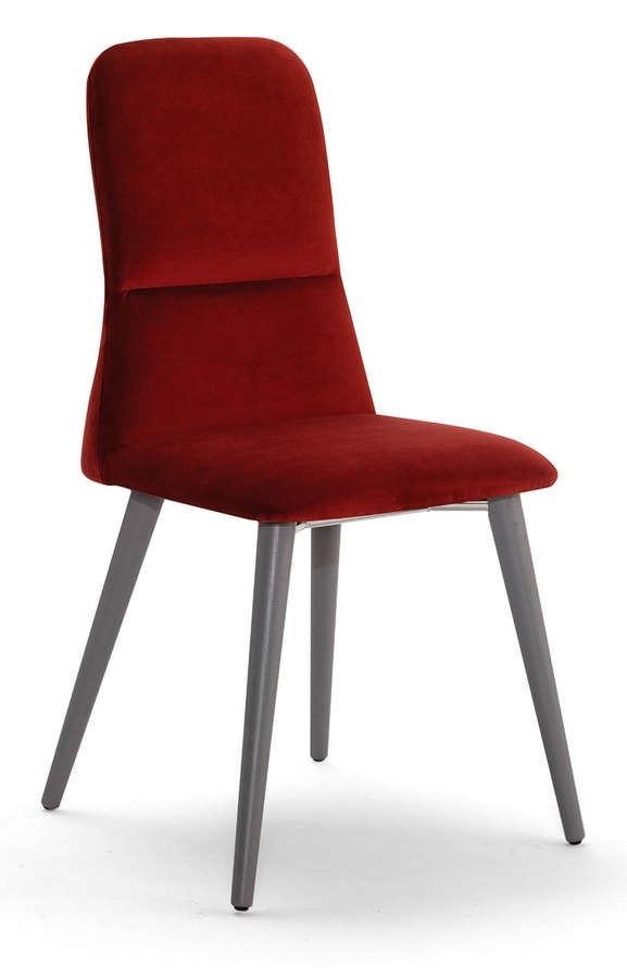 Corinne W, Chair with wooden legs, high back