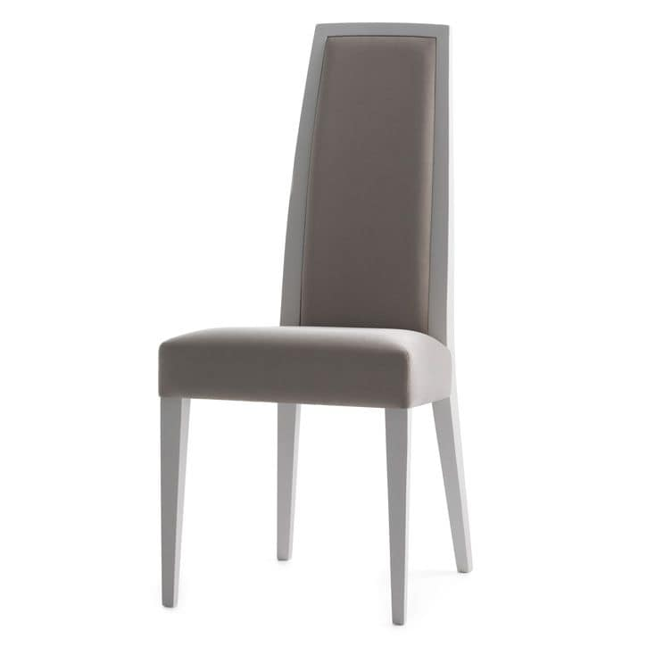 Erminio 00311, Chair in Solid wood, upholstered seat and back, fabric covering, for contract use