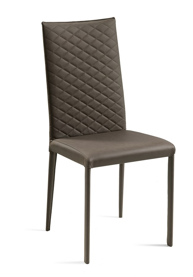 Jury high quilted, Leather chair with quilted backrest