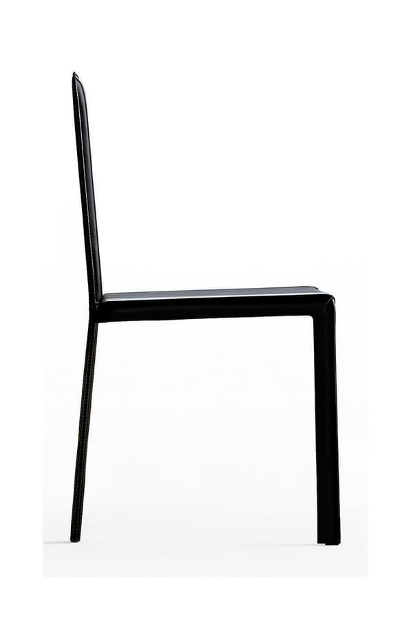 Slim high, Leather chair with high backrest, with light form