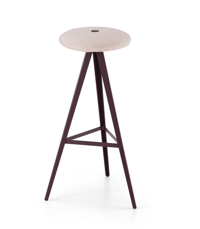 ART. 0122-H78-MET-IMB AKY, Stool with padded seat, height 78 cm