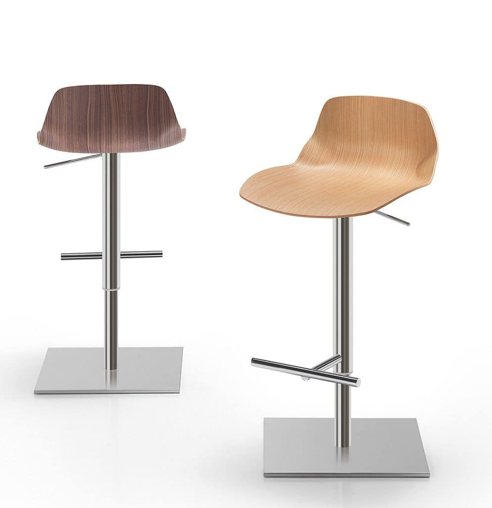 Kaleidos sgabello legno, Metal stool with wooden body ideal for kitchens, bars and restaurants