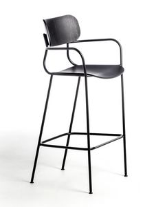Kiyumi Wood ST, Stool with a sinuous structure in black steel