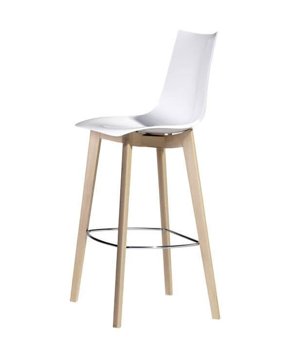 Natural Zebra H, Design stool in wood and polycarbonate, seat height at 78 cm