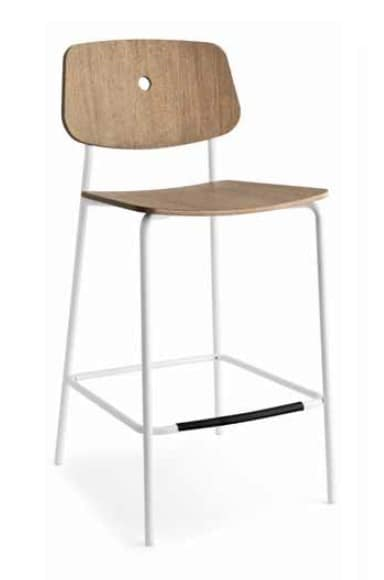 Olivia-SG, Modern metal stool, with wooden seat