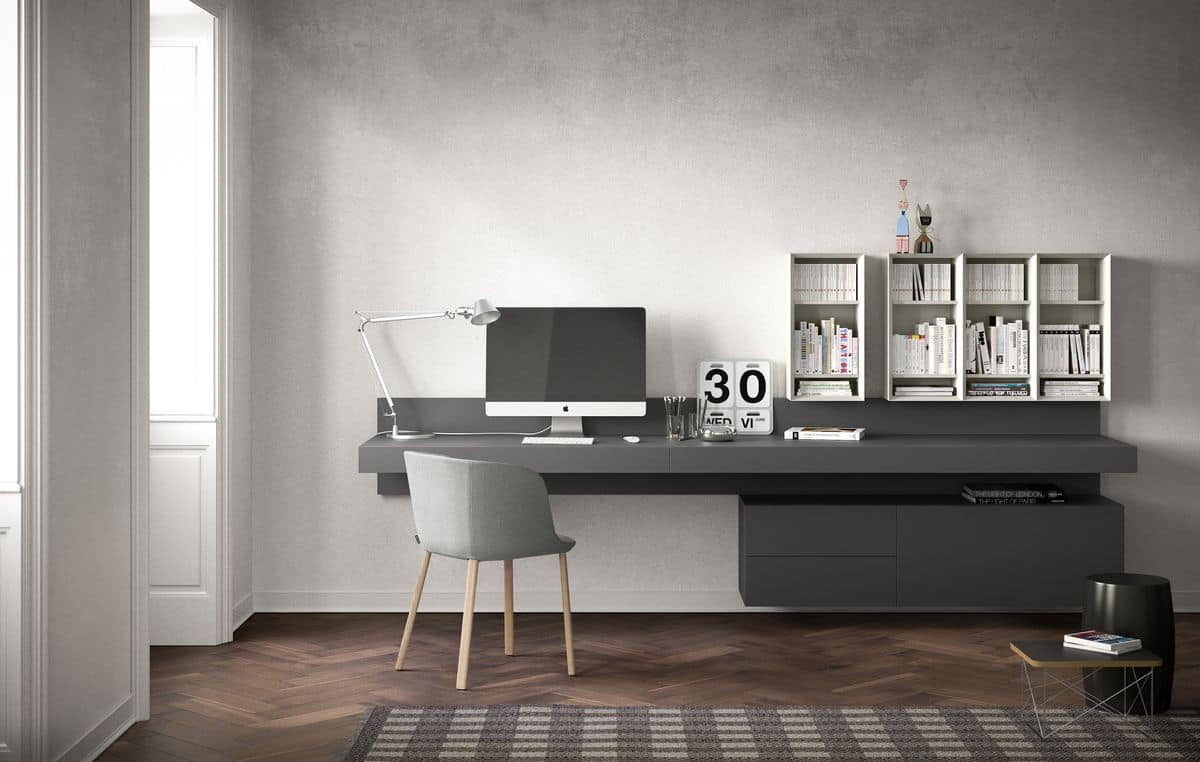 Ala writing desk, Suspended desk, in veneer or lacquered wood