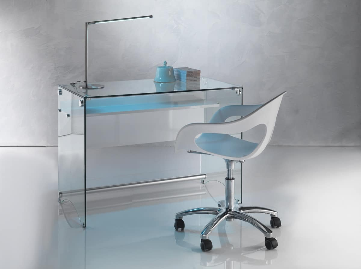 Art. 906 Desk, Desk with a clean design,  in trasnsparent glass