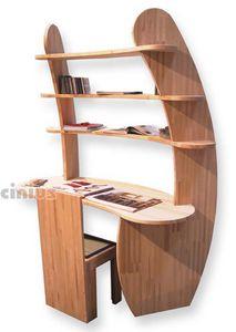 Desk Avvolgente, Wooden desk with shelves