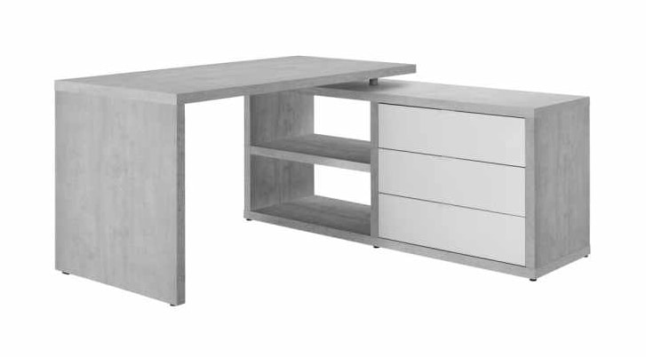 Desk Design With Side Extension And Drawers White Concrete Effect DIAGRAM, Desk with side extension
