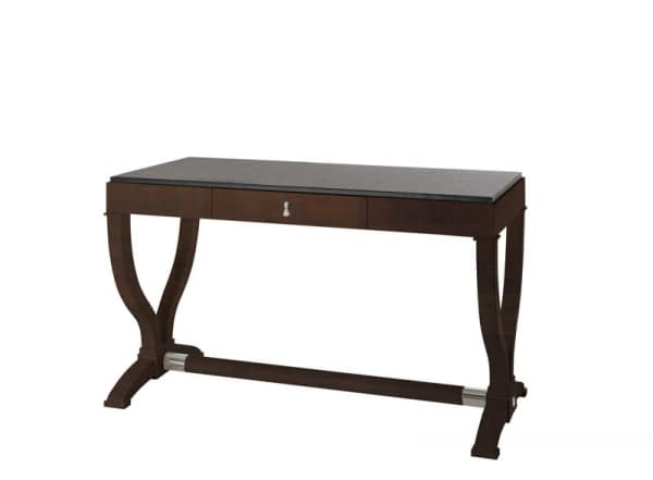 Heritage writing desk, Wooden desk with leather top