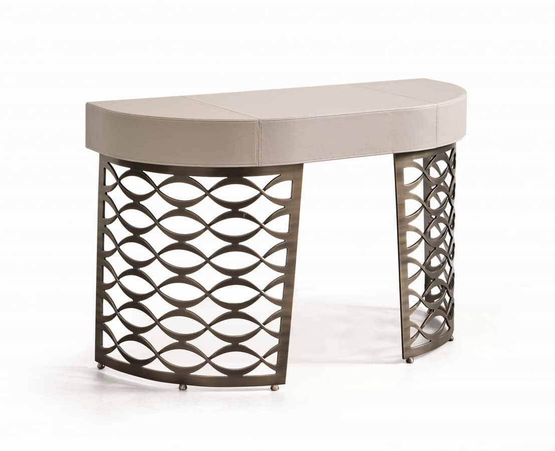 Isidoro desk, Writing desk with leather top, base in brushed bronze