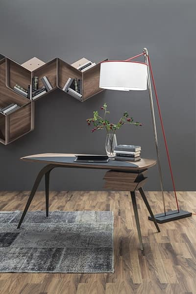 LOGOS, Writing desk with metal legs and Canaletto walnut wood top