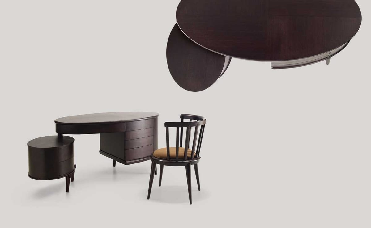 Maracanà desk, Oval desk with drawers, in black Canaletto