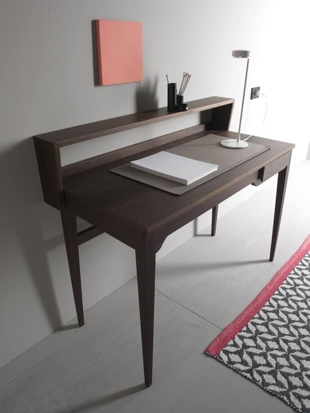 Pad 216 Writing Desk In Walnut Veneer With Opening Top