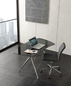 s04 asterix, Modern writing desk with glass top