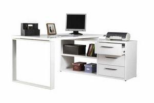 Scrivania Con Penisola Angolare E Cassetti Bianca Lucida GLASSY, Glossy white angular desk