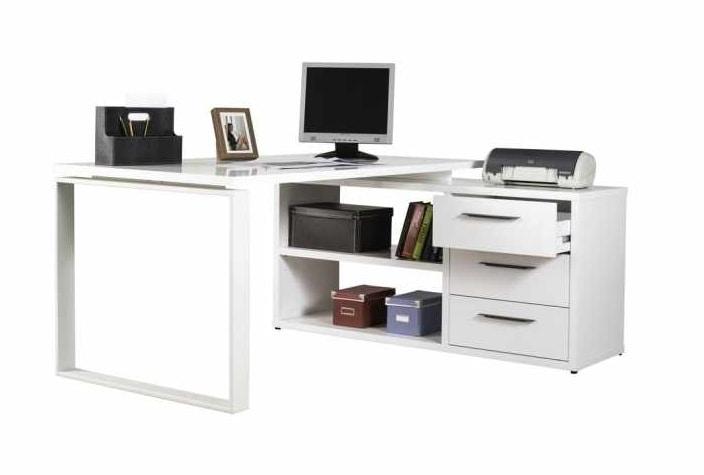 Glossy White Angular Desk Idfdesign