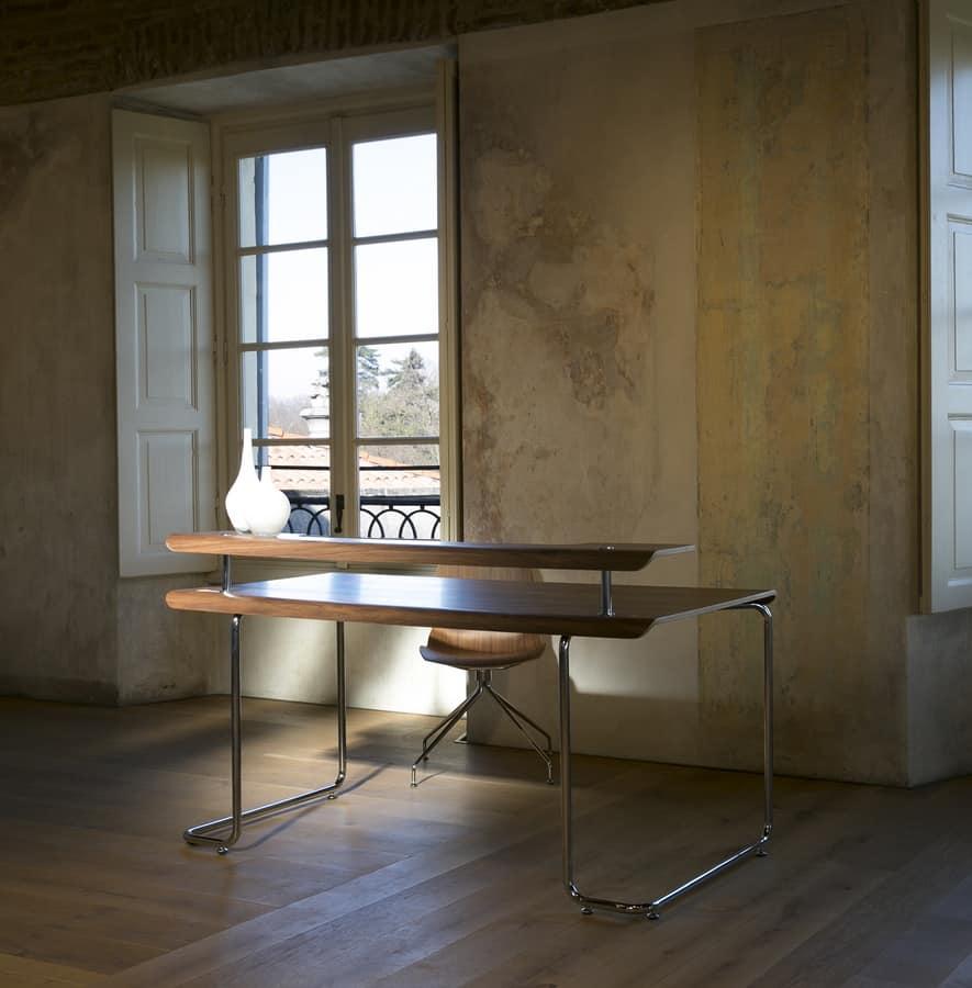 Steno, Desk with top in canaletto walnut