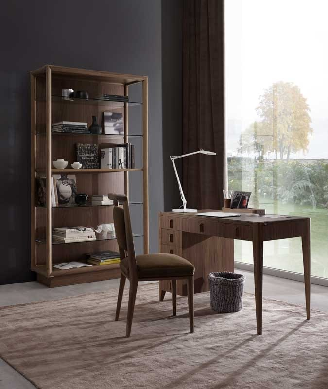 Sunrise writing desk, Writing desk with drawers and leather top.