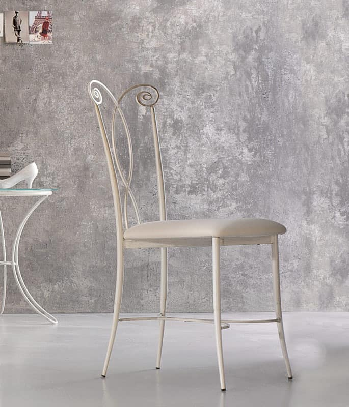 Klimt chair, Metal chair, leather seat, for outdoor side