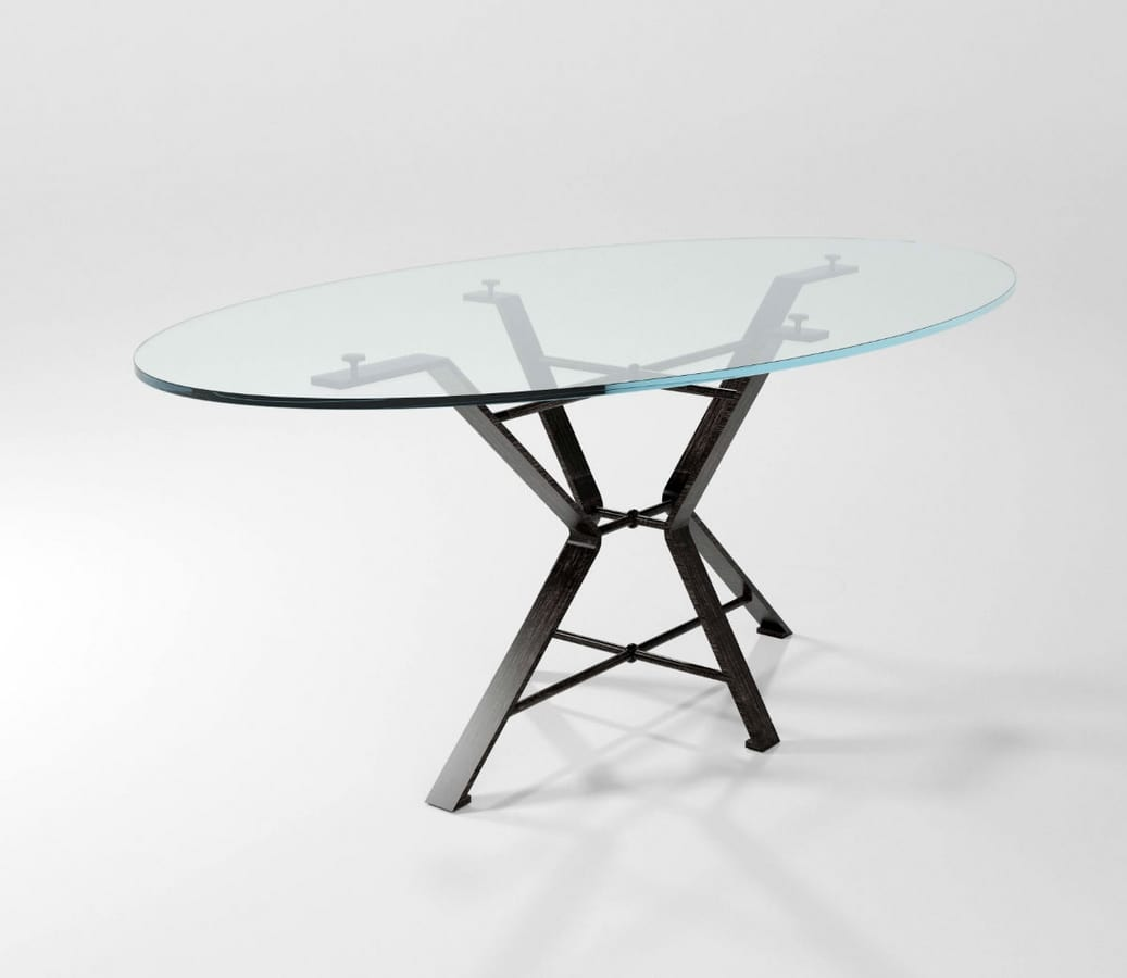 Aix, Table with forged iron base