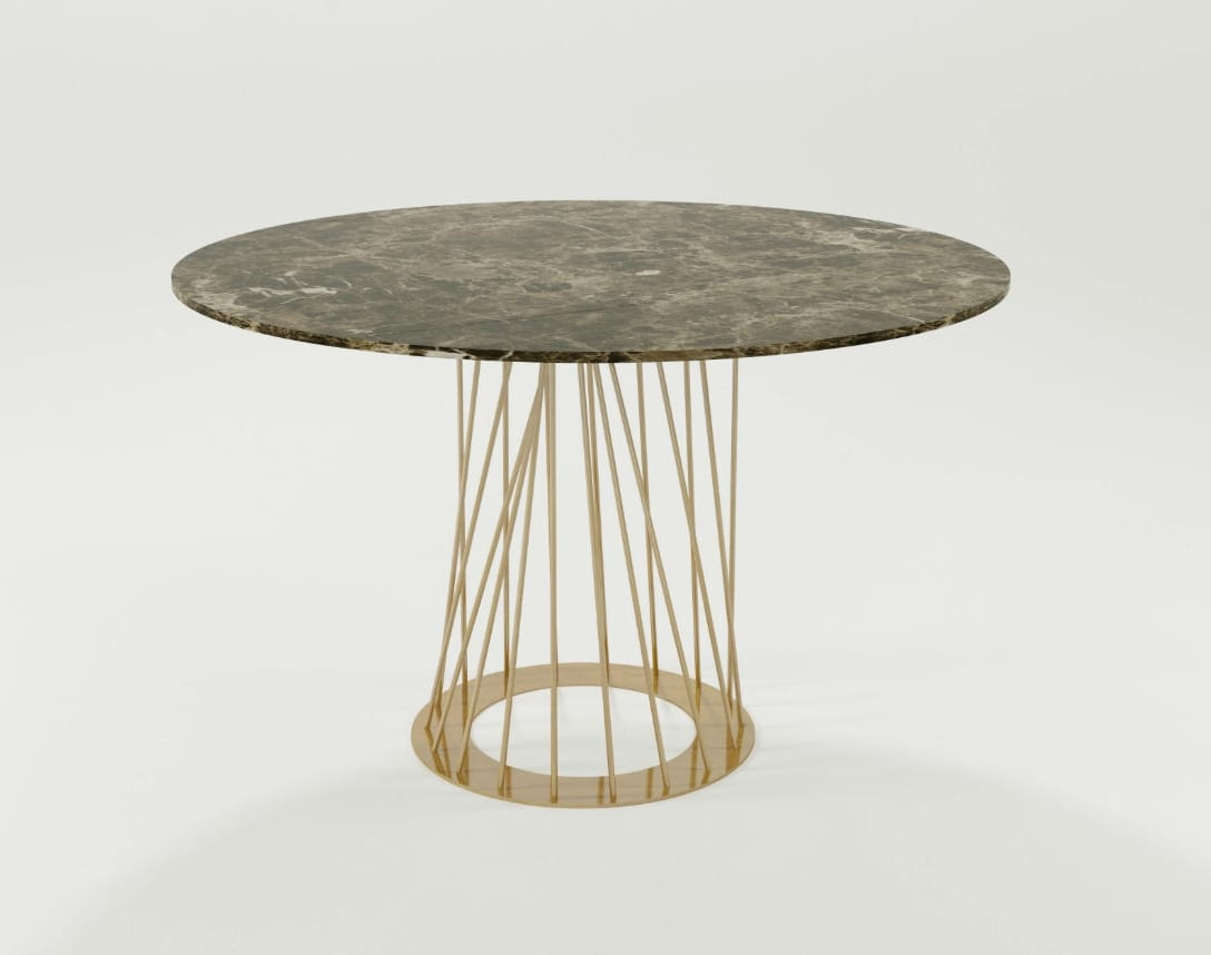 Burgos, Table with iron base and round top