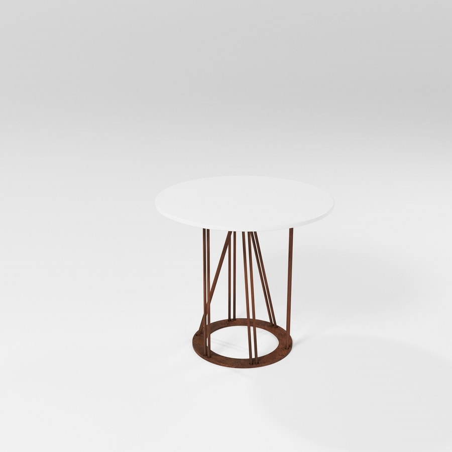 Cebreiro, Coffee table with iron base and round top