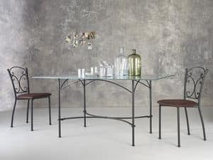 Corallo, Rectangular metal table, glass top