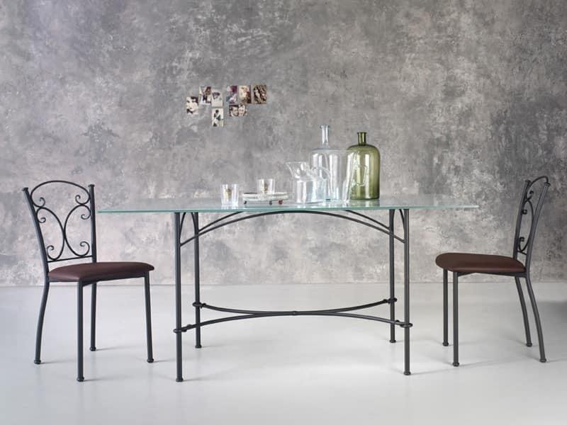 Corallo, Rectangular metal table, glass top