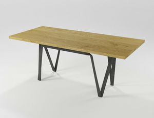 Doppiavi, Rectangular table in iron and wood