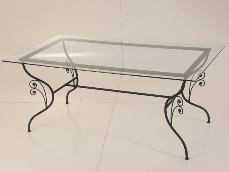 Table Made Of Wrought Iron Glass Top For Outdoor Use Idfdesign