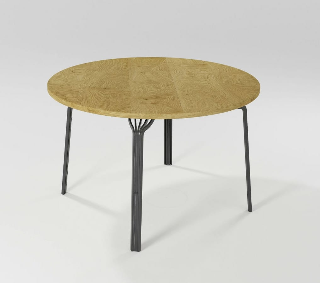 Ming circolare, Round table with iron legs