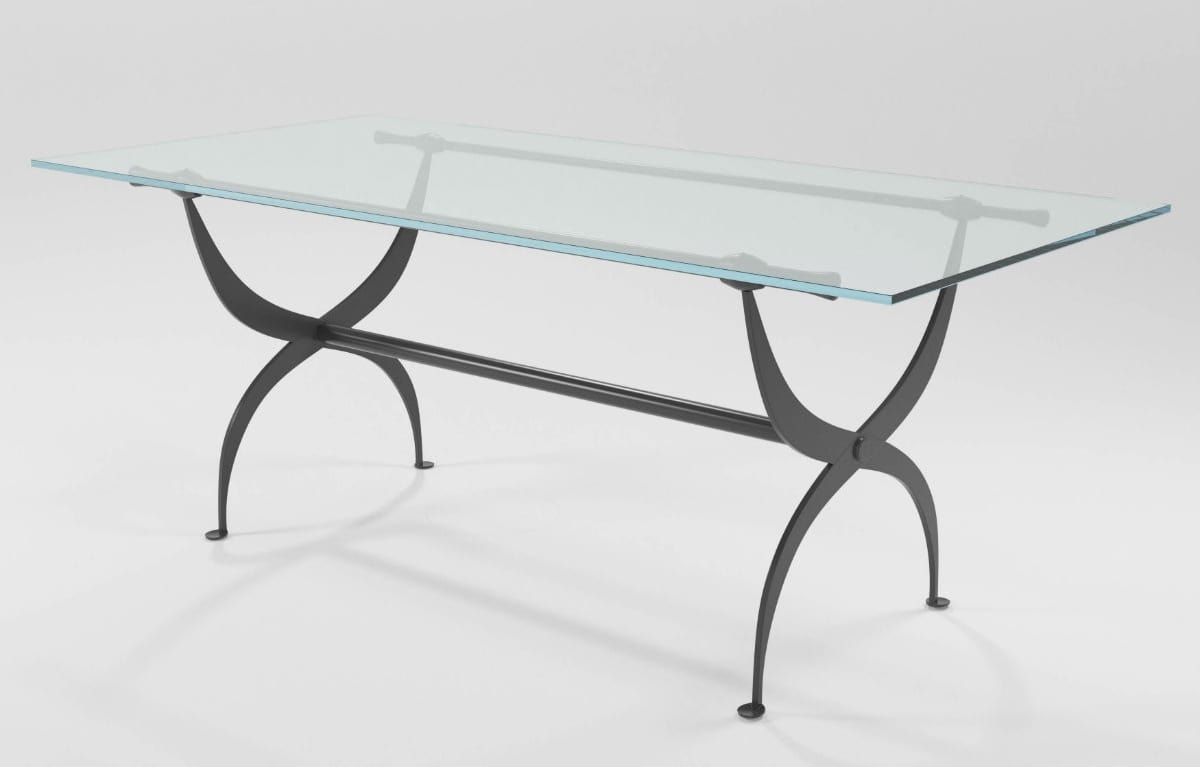 Strauss, Iron table with glass top
